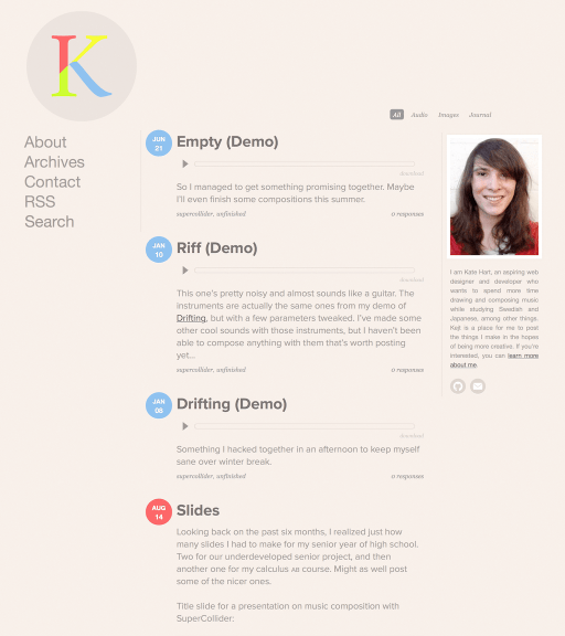 Screenshot of my home page design for kejt.me